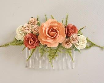Bridal Hair Comb, Peach Coral Hair Comb, Floral Hair Comb, Wedding Hair Piece, Bridesmaids Hairpiece, Summer Wedding, Rose Hair Comb