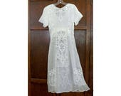 Antique Edwardian White Summer Ladies' Dress Open Work and Embroidery