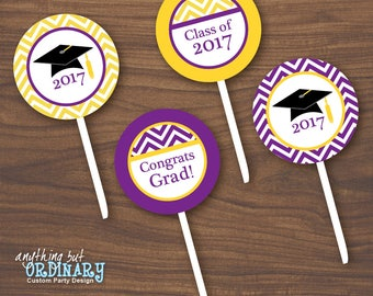 2017 Graduation Cupcake Toppers, Purple and Gold Chevron Graduation Party Circles, Printable Favor Tags, DIY digital file