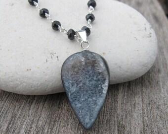 30% OFF Druzy Agate Necklaces- Druzy Necklaces- Crystal Necklaces- Black Spinel Necklaces-Statement Necklaces-Black Stone Necklaces-Sparkly
