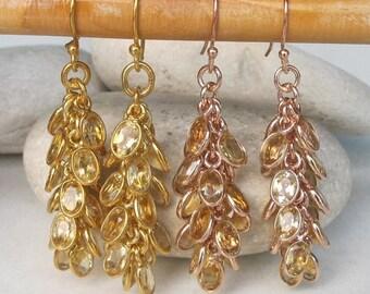 30% OFF Rose Gold Citrine Earrings- Citrine Earrings- Stone Earrings- Dangle Earrings- November Birthstone Earrings- Earring- Gifts for Her