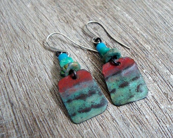 Strata.  Earthy Rustic Rectangle Drop Earrings.