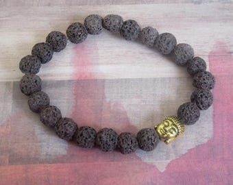 Gold Happy Buddha Yoga, Relaxation Beaded Stretch Bracelet with Brown Lava Beads