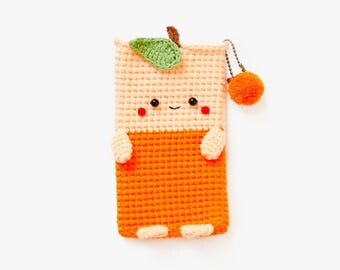 Crochet Orange iPhone 7 plus Case, Crochet cellphone case pouch/case, iPhone 7 plus, iPod, Mobile phone, Electronics case.
