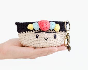 Crochet coin purse - Frida Kahlo No.1/ mini bag, crochet bag, flowers, colorful.