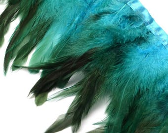 Ribbon feathers set with a nuanced color turquoise & dark satin ribbon, 10 cm