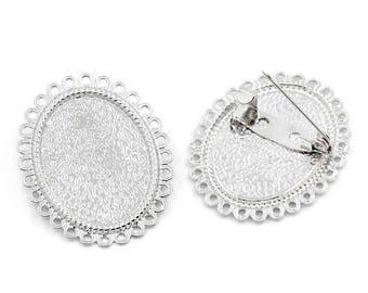 1 oval brooch support cabochon metal color silver 34 x 28 mm (pr cabochon 25 x 18 mm) lead nickel free diy creation