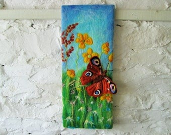 textile art butterfly picture, felt soft sculptured butterfly in flower meadow