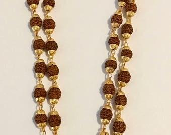 5 Mukhi Rudraksha Spiritual Power Necklace - Gold Caps - Blessed