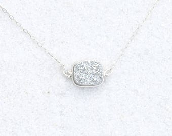 Silver druzy necklace on sterling chain