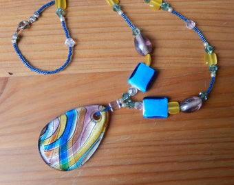 Bright and Colorful Handmade Beaded Necklace with Glass Pendant - Blue, Yellow, Pink - Women, Girls - Hippie, Boho, Fun, Happy,Bright Colors