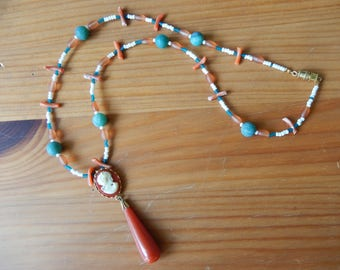 Handmade Beaded Necklace with Upcycled Orange and White Cameo Pendant - Orange, Green, White - Vintage, Hippie, Boho, Earthy - One of a Kind