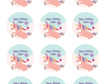 CUSTOMIZABLE UNICORN STICKERS / 12 stickers / Unicorn Party / Birthday Party / Party Favors / Rainbow Party / Sticker Label / 2inch round
