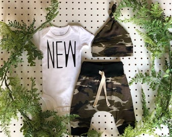 Newborn Boy Coming Home Outfit / Newborn Baby Boy Take Home Outfit / Newborn Camo Outfit // Camo Clothing Set // Preemie Clothes Boy //