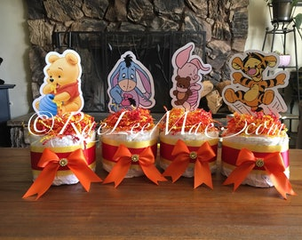 Baby Winnie The Pooh Diaper Cake Minis/baby Tigger/baby Eeyore/baby piglet/baby winnie the pooh baby shower decorations/pooh diapercakes