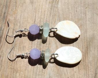 sea glass and mother of pearl shells earrings boho style jewelry beach jewellery
