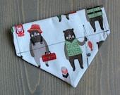 Bears Fishing Pet Bandana, Slide On Collar Accessory, Handmade in Canada, Dog Clothing, Cat Bandanna, Collar NOT included