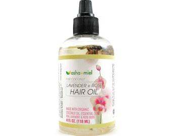 Lavender + Rose Coconut Hair Oil, Hot Oil Treatment, Pre-poo, Hair Conditioner, Natural Hair Treatment, Lavender Hair Oil, Rose Hair oil