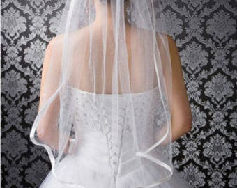White/Ivory Veil 1 Layers Wedding Bridal Veil elbow Length Satin Edge With Comb