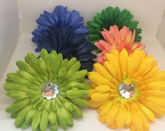 6 pieces assorted colours silk gerbera daisy flowers, craft flowers