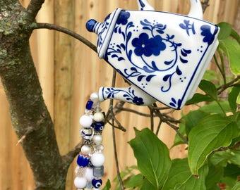 Repurposed Tea Pot Ornament, Recycled Mini Tea Pot, Blue White Tea Pot, Hanging Garden Art, Window Decoration, Sun Catcher, Beaded Mobile