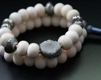 Tribal stacking bracelet set, rustic African beads, two bracelet set, neutral boho bracelets, stretch urban safari tassel druzy bracelets