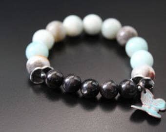 Hypersthene gemstone bracelet - black gold amazonite bracelet - enamel butterfly charm bracelet - boho stretch bracelet - gift for her