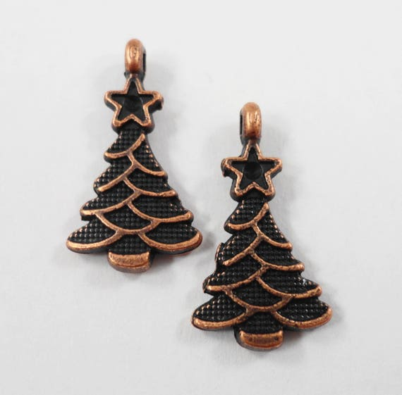 Christmas Tree Charms 20x10mm Antique Copper Christmas Tree Pendants, Metal Charms, Holiday Charms, Christmas Charms for Jewelry Making 10pc