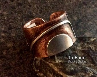 TRIBAL SPIRIT Sunrise Ring - Sun Jewellery, Daybreak Ring, Copper and Silver Ring, Unisex Band, Rustic Person Gift, Mixed Metal Ring, TSR24