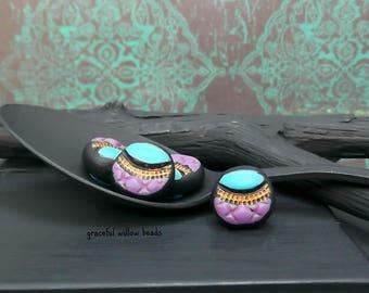 Stamped Polymer Flat Round Bead - Blue Purple Bronze Black - Handmade Bohemian Round Bead - 12mm - Pkg. 4