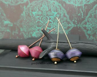 Modern Boho Polymer Bicone Bead Mix - Pink Brown Purple Bronze - Handmade Earring Bead Pairs - 13mm - Pkg. 4
