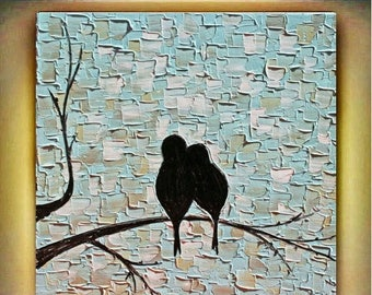 SALE Original Abstract  Love  Birds Impasto Textured Palette Knife Birds Blue  Painting. Made2Order.