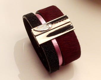 Burgundy rose hair metal with magnetic jet black caviar leather cuff