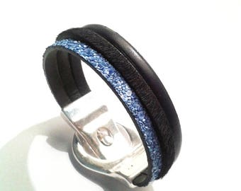 Bracelet leather-haired black leather black and glittery blue with silver belt magnetic clasp