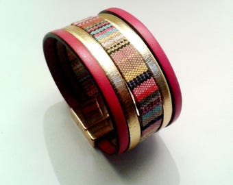 Red Gold Leather cuff with ethnic with clasp gold