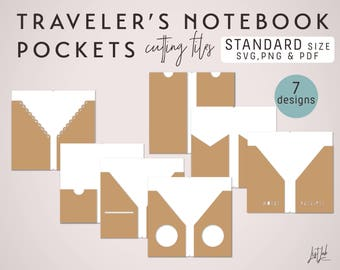 SVG Traveler's Notebook Pockets – Die Cutting Files (7 Designs - Standard Size) - fits Midori or Fauxdori Standard Size Notebooks
