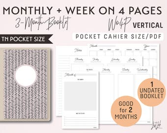 POCKET Size Monthly-Week on 4 Pages Vertical Printable Booklet Insert - Good for 2 Months