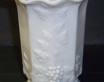 Westmoreland Milk Glass PANELED GRAPE 5 3/4 Inch High Ruffled Top CELERY Vase