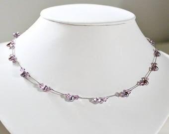June Birthstone,Necklace,For Woman,40th Birthday Gift,June Birthday,Gift,30th Birthday Gift,Pearls,Purple,Swarovski,Silk Cord,For Sister