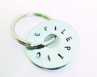 Medical alert, medical jewelry,sos, ICE,keyring, medical id tag,epilepsy warning,epilepsy jewelry,epilepsy bag tag,first aid,
