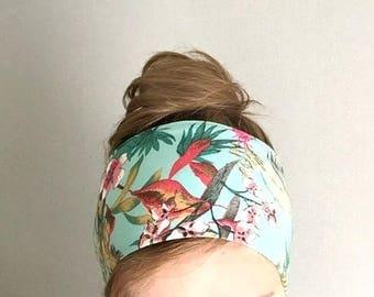 écharpe cheveux , headband , tissu jersey coton ethnique bandeau cheveux ,  bohemien  , ethnique , accessoire femme vert d'eau
