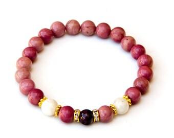 Rhodochrosite bracelet, women's bracelet, rhodochrosite jewelry, women's gift, pink bracelet, rhodochrosite, garnet bracelet