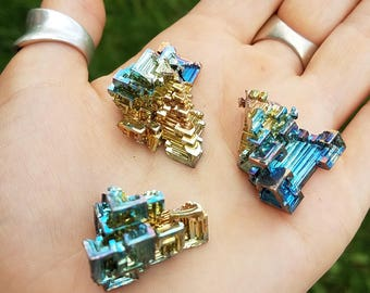 1 Medium Piece of Bismuth- made in Germany- more available- fractal rainbow transformation- hopper crystal element