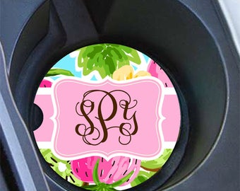 Personalized car coaster, Preppy pink and green strawberry design, Pink car decor, Pretty car cup holder coaster, Pink car decoration (1642)