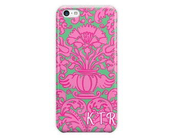 Hot pink and green phone case, Preppy Iphone 6 case damask for women, Fits iPhone 4/4s 5/5s 6/6s 7 8 5c SE X and Plus phone covers (1789)