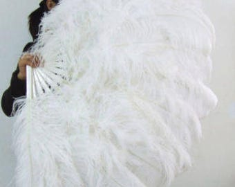 """Burlesque Dance 34""""x 60'' X L Large double-layer white Ostrich Feather Fan with gift box"""