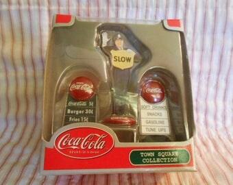 Town Square Collection-Coca Cola-Three Coca Cola Signs-Sealed