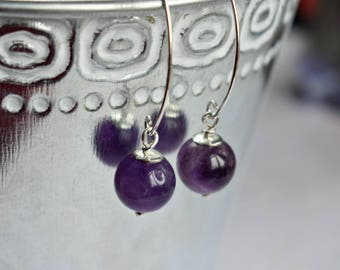 Amethyst Earrings, Gemstone Earrings, Amethyst Jewelry, Elegant Earrings, Gifts for Mum, Dangle Earrings, Silver Earrings, Gifts for Friends