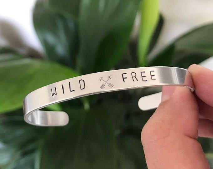 Wild and Free Handstamped Cuff Bracelet, Travel Bracelet, Adventure Bracelet