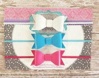 Baby Headband, Bow Headband, Pink Baby Headband,  Infant Headband, Newborn Headband, Set of Faux Leather Bows,  Baby Headband